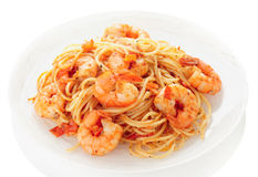 Pasta with tomato sauce and shrimps Stock Photos
