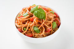 Pasta with tomato sauce and tomatoes Royalty Free Stock Photos