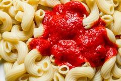 Pasta with tomato sauce. Top view royalty free stock photos