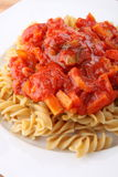 Pasta with tomato sauce with vegetable Royalty Free Stock Photo