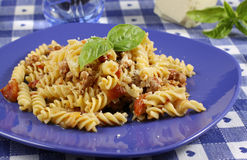 Pasta with tomato and sausage Royalty Free Stock Photos
