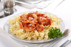 Pasta with tomato and shrimps Royalty Free Stock Photography