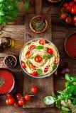 Pasta and tomato soup Stock Photos