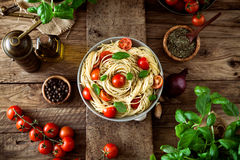 Pasta and tomato soup Stock Photography
