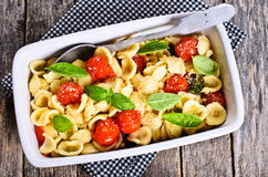 Pasta with tomatoes, Basil and cheese Stock Image