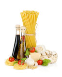 Pasta, tomatoes, basil, oil etc Stock Images