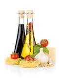 Pasta, tomatoes, basil, olive oil, vinegar etc Stock Image