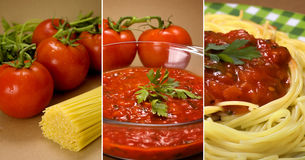 Pasta and tomatoes collage. Stages of pasta and tomato sauce collage Stock Photo