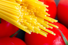 Pasta with tomatoes for cooking Royalty Free Stock Photography