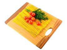 Pasta , tomatoes and dill Royalty Free Stock Image