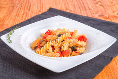 Pasta tomatoes and eggplants Stock Images