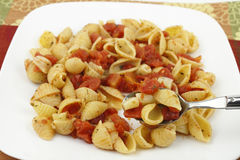Pasta with Tomatoes and Garlic Stock Photography