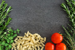 Pasta Tomatoes Herbs Stock Photo