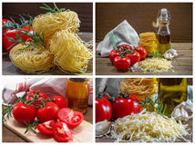 Pasta, tomatoes and herbs Stock Photo