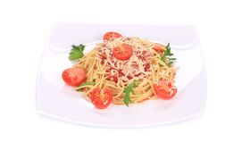 Pasta with tomatoes and parmesan. Royalty Free Stock Photo