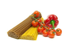 Pasta, tomatoes and peppers on white background Royalty Free Stock Photo