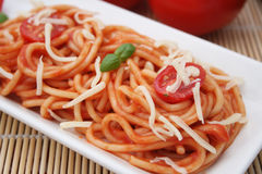 Pasta with tomatoes Royalty Free Stock Photo