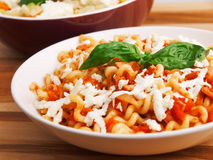 Pasta with tomatos and cheese Stock Image