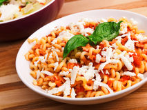 Pasta with tomatos and cheese Royalty Free Stock Photography