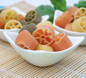 Pasta tricolor. Some italian pasta tricolor in red, yellow and green stock image