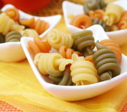 Pasta tricolore. Some italian pasta tricolore in a bowl royalty free stock photo