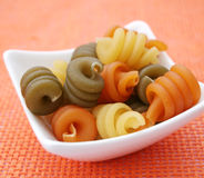 Pasta tricolore. Some italian pasta tricolore in a bowl royalty free stock images