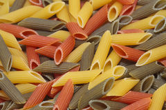 Pasta Tricolore. Close up of a Tricolore Pasta Stock Photos