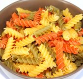 Pasta tricolore. Some pasta tricolore in a bowl Stock Images