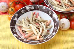 Pasta tricolore. Some colourful pasta in a bowl Royalty Free Stock Photo