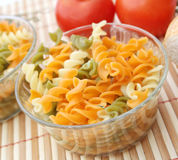 Pasta tricolore. Some colourful pasta in a bowl royalty free stock photos