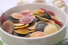 Pasta tricolore. Some colourful pasta in a bowl Stock Images