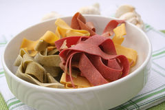 Pasta tricolore. Some colourful pasta in a bowl royalty free stock photography