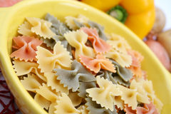 Pasta tricolore. Some colourful italian pasta in a bowl Royalty Free Stock Photo