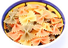 Pasta tricolore. Some colourful italian pasta in a bowl Stock Images