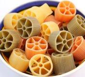 Pasta tricolore. Some colourful italian pasta in a bowl Stock Image