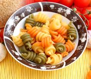 Pasta tricolore. Some fresh pasta tricolore in a bowl Royalty Free Stock Image