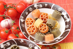 Pasta tricolore. Some fresh pasta tricolore in green, yellow and orange Royalty Free Stock Photo
