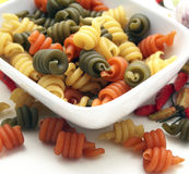 Pasta tricolore. Some italian pasta in different colours stock photo