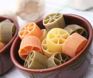 Pasta tricolore. Some italian pasta in different colours royalty free stock photo