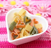 Pasta tricolore. Some italian pasta in different colours royalty free stock photos