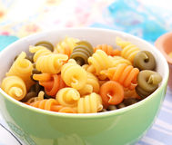 Pasta tricolore. Some raw italian pasta tricolore Stock Photos