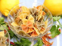 Pasta tricolore. Some pasta tricolore in yellow, green and red stock photography