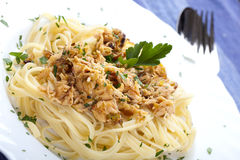 Pasta with Tuna Fish Stock Photography