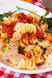 Pasta with tuna meat and vegetables Royalty Free Stock Images