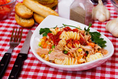 Pasta with tuna and vegetables Royalty Free Stock Images