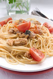 Pasta with  tunny. Italian traditional pasta with tunny Stock Photography