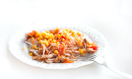 Pasta with turkey meat, tomato, carrot and corn Royalty Free Stock Photo