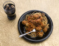 Pasta with Turkey Meatballs Stock Photos