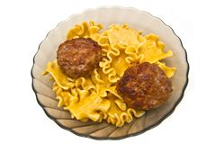 Pasta with two cutlet Stock Photography