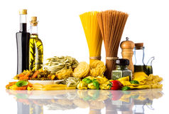 Pasta Types and Cooking Ingredients on White Background Stock Photos